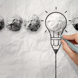 Light bulb crumpled paper in pencil light bulb Stock Images