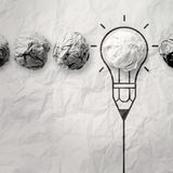 Light bulb crumpled paper in pencil light bulb Royalty Free Stock Photo