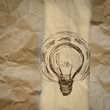 Light bulb crumpled paper and recycle tear envelope as creative Royalty Free Stock Photos