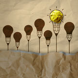 Light bulb crumpled recycle paper in pencil light bulb Royalty Free Stock Photos