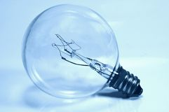 Light Bulb in Cyan Stock Photos