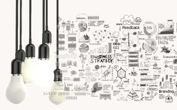 Light bulb 3d on business strategy background Royalty Free Stock Image