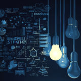 Light bulb 3d on business strategy background. As concept Royalty Free Stock Photography