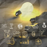 Light bulb 3d on business strategy. With crumpled paper background Royalty Free Stock Images