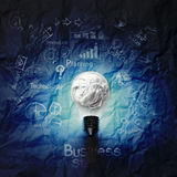 Light bulb 3d on business strategy on crumpled paper background. As concept Royalty Free Stock Photo