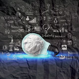 Light bulb 3d on business strategy on crumpled paper background Royalty Free Stock Photos