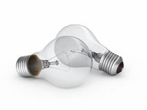 Light Bulb. 3d render Light Bulb perspective view (on white and clipping path Royalty Free Stock Image