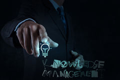 Light bulb with design word KNOWLEDGE Stock Photos