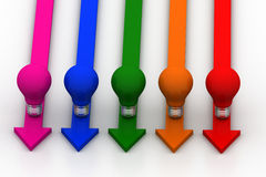 Light  bulb in different color arrows Stock Photo