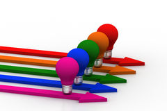 Light  bulb in different color arrows Stock Images