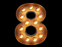 Light bulb digit alphabet character 8 eight font Stock Photography