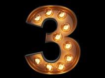 Light bulb digit alphabet character 3 three font Royalty Free Stock Photos