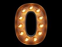 Light bulb digit alphabet character 0 zero null font Royalty Free Stock Photo