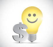 Light bulb dollar money illustration design Royalty Free Stock Photos