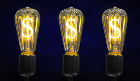 Light bulb with Dollar symbol. Stock Photos