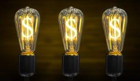Light bulb with Dollar symbol. Stock Photos
