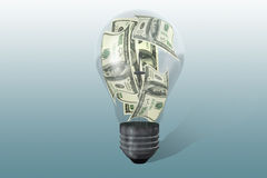 Light bulb with dollars Stock Image