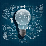 Light bulb doodles line drawing Royalty Free Stock Photography