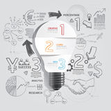 Light bulb doodles line drawing success strategy plan idea. With magnifier.Vector illustration.Focus Success Concept Royalty Free Stock Image