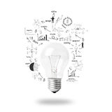 Light bulb with drawing business plan strategy concept idea Stock Photography