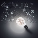 Light bulb and drawing business strategy Royalty Free Stock Photos
