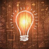 Light bulb with drawing business success strategy Royalty Free Stock Photos