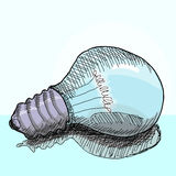 Light bulb drawing doodle style vector Royalty Free Stock Photos