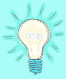 Light bulb drawing doodle style vector Stock Photos