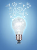 Light bulb with drawing graph Royalty Free Stock Photos
