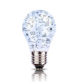 Light bulb with drawing graph inside Stock Photos