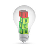 Light bulb Drawing idea cubes, illustration Stock Photos