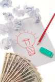 Light Bulb Drawing and Money Royalty Free Stock Photography