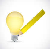 Light bulb and drawing pencil illustration design Stock Photos