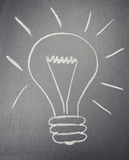 Light Bulb Drawn with Chalk Royalty Free Stock Photography
