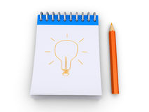 Light bulb is drawn to a notepad Stock Photos