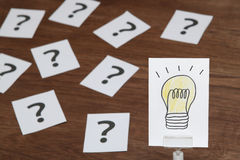 Light bulb drawn on white paper with many question marks. Solution concept. stock photography