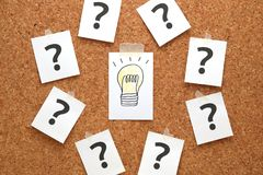 Light bulb drawn on a white paper with many question marks. Solution concept stock photography