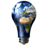 Light Bulb Earth. 3d image of a light bulb with an earth mao Royalty Free Stock Images