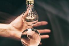 Light bulb and earth Stock Image