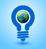 Light bulb earth icon. Ecology and saving energy icon with light bulb and planet Earth Royalty Free Stock Images