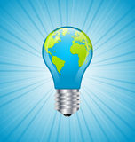Light bulb earth icon. Ecology and saving energy icon with light bulb and planet Earth Stock Photos
