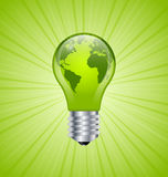 Light bulb earth icon Stock Images