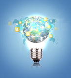 Light Bulb with earth of social network Royalty Free Stock Photos