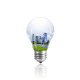 Light Bulb with with Eco Friendly Cities. Stock Images
