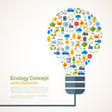 Light Bulb with ecology Icons Pattern. Vector Stock Image