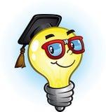 Light Bulb Education Cartoon Character. A nerdy light bulb cartoon character wearing thick rim glasses and a graduation cap Stock Photos