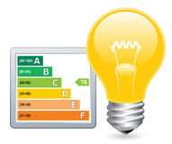 Light Bulb and Efficiency Rating stock illustration