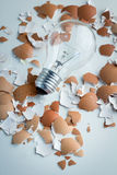 Light bulb and the egg shell close up Stock Photos