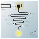 Light Bulb Electric Wire Line Business Infographic Stock Photos