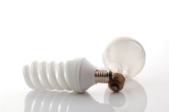 Light bulb and energy saver lamp Royalty Free Stock Image